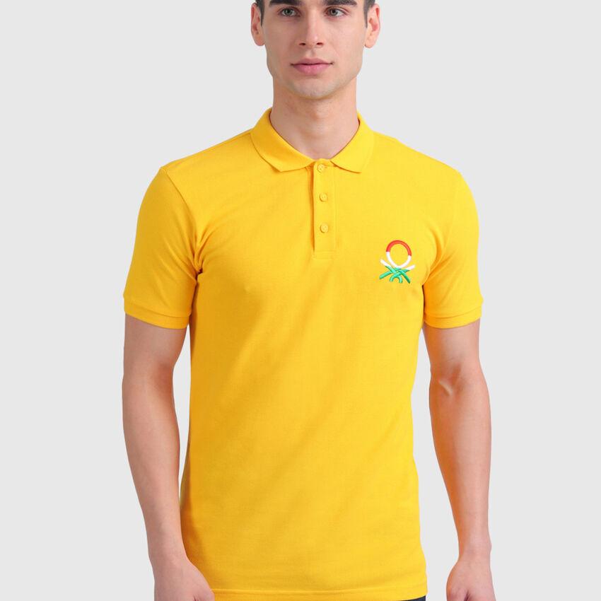 Cotton Polo Shirt with Benetton Flag