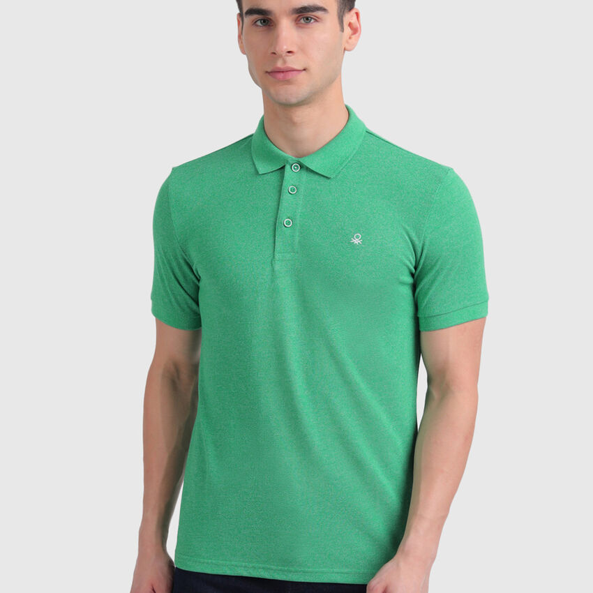 Cotton Jaspe Polo Shirt in Solid Colour