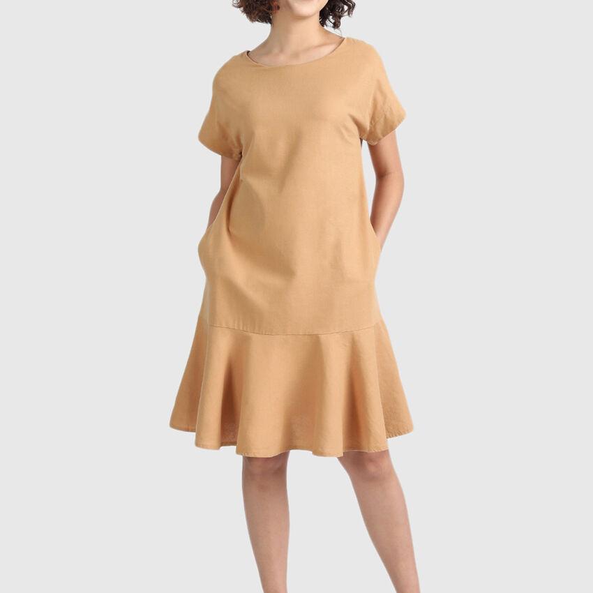 Linen Dress with Panel at Hem