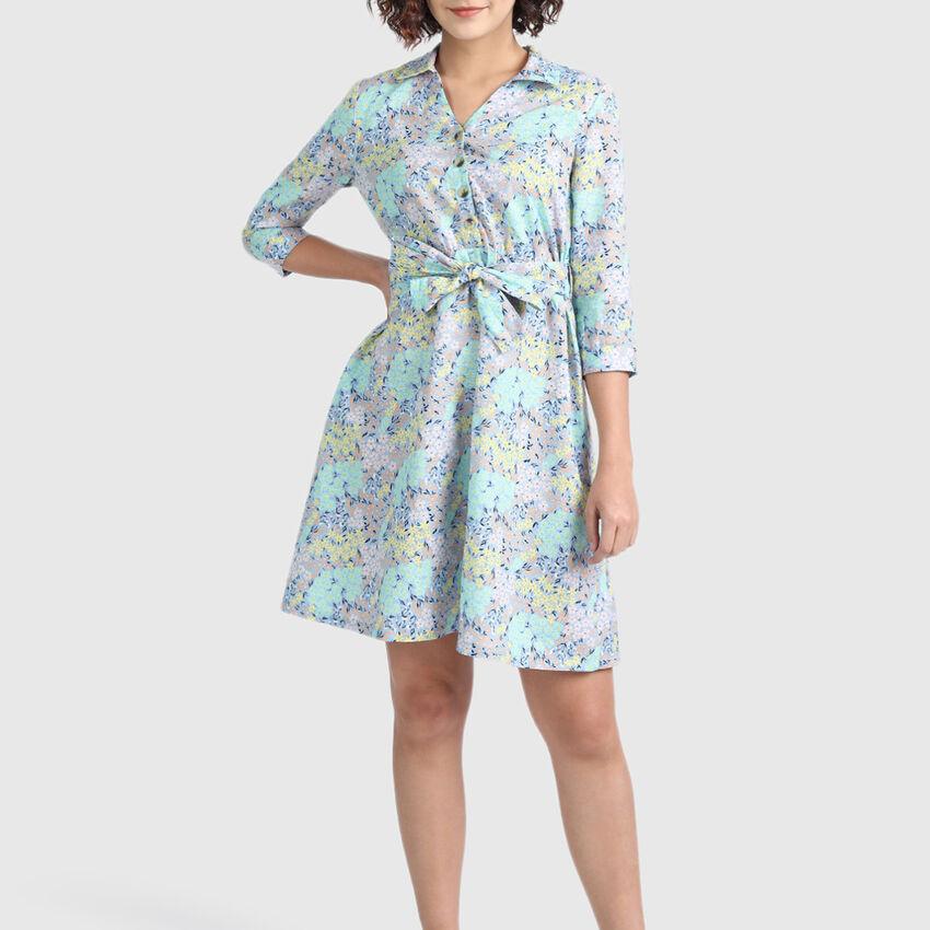 Linen Half Placket Floral Dress